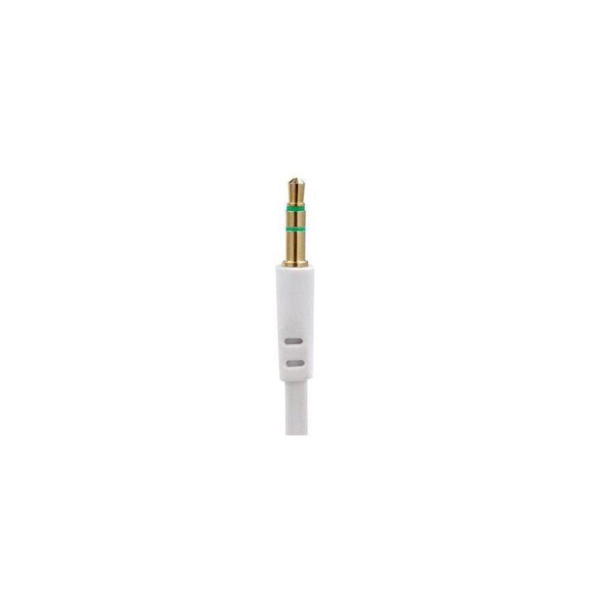 1 m Audio Flat Extension Cable from 3.5 mm Male Port to 3.5 mm Male Port White