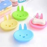 1 Pcs Cartoon Smiling Face Little Rabbit Soap Dish Soap Box Green Color (Intl)