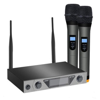 ARCHEER LCD UHF Dual Wireless Handheld Microphone System + 2 Mic For Home KTV - intl
