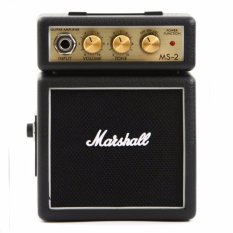 Marshall MS2 Mini Guitar Amplifier Portable Speaker Music Guitar Original Amps Ampli Amp Adjustable Volume Treble Bass Ringan Kecil Mudah Dibawa Suara Dahsyat Aksesoris Audio Video Instrumen Music Portabel - Hitam