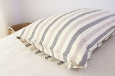 100% Cotton Pillow Cases Rectangle Textile Non-fading Bedding Pillow Simplist Style Stripe Beige Grey - Intl