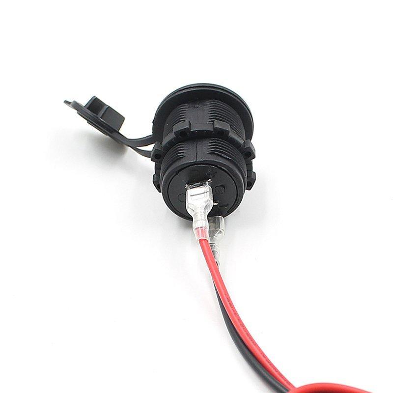 12-24V USB Motorcycle Car Cigarette Lighter Socket Charger Power Adapter Black (Intl)