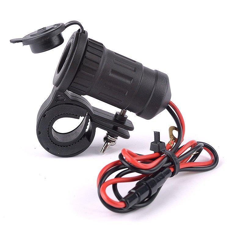 12/24V Waterproof Car Charger Motorcycle Plug Cigarette Lighter Power Adapter Socket for GPS Phone (Black) (Intl)