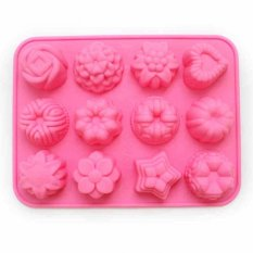 12 Cavity Flowers Silicone Non Stick Cake Bread Mold Chocolate Jelly Candy Baking Mould (Intl)