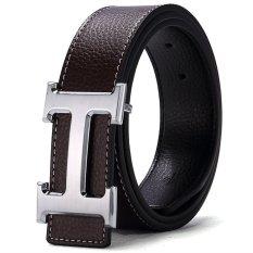 120CM (+ - 5CM) Fashion Style Men Cowskin Leather Belt MBT16H-4 (Coffee + Silver Buckle) - Intl