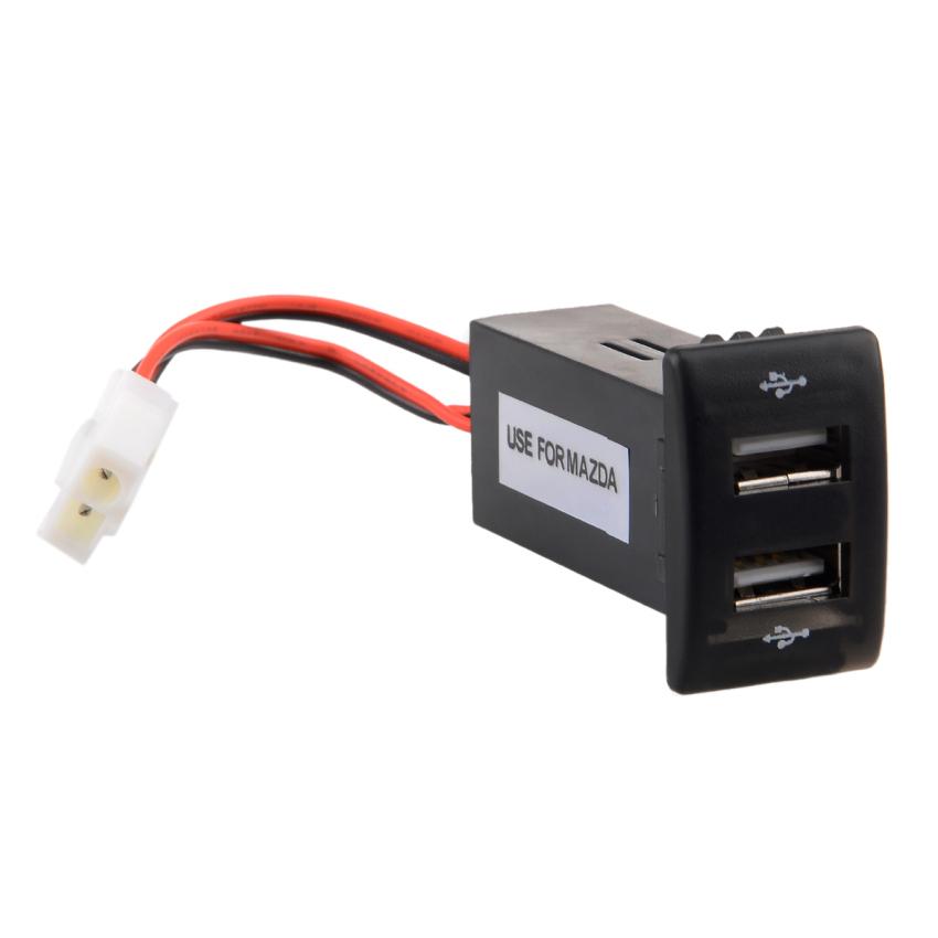 12V 2.1A Dual USB Port Power Socket Mobile GPS Car Charger for Mazda (Black) (Intl)