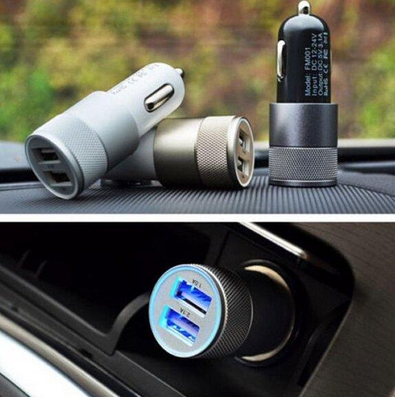 12V 2.1A&1A Aluminum 2 USB Ports Universal Dual USB Car Charger for iPhone 5 6 6 Plus/iPad 2 3 4 5/Samsung Galaxy S4 S5 (Blue) (Intl)
