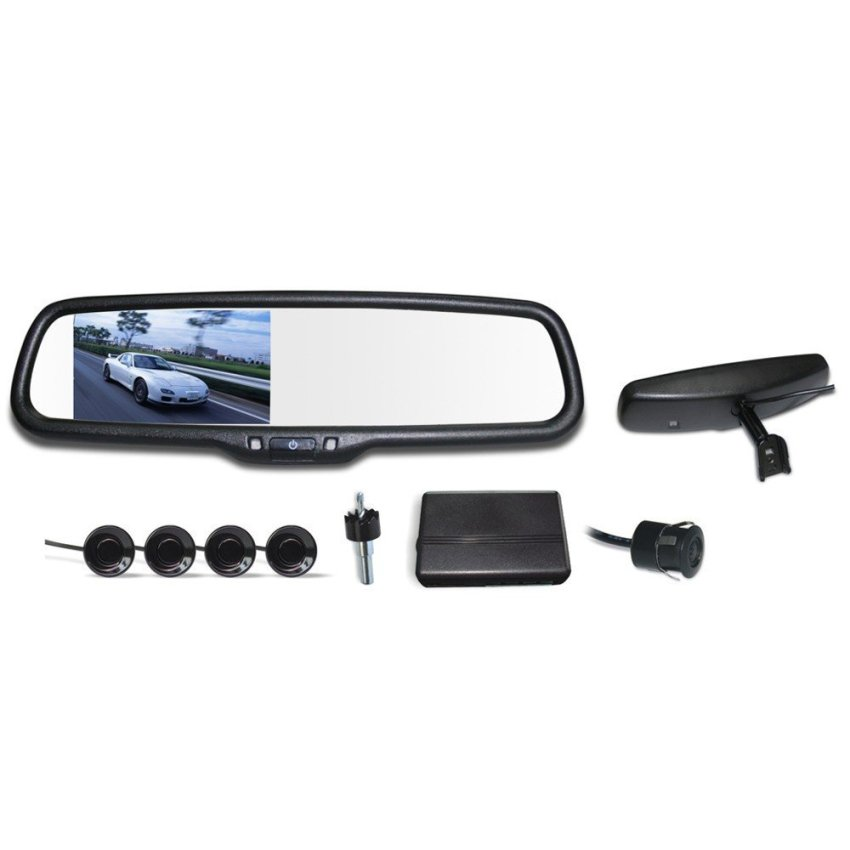 12V 4 Parking Sensors 4.3  LCD Display Camera Video Car Rearview Mirror Reverse Radar System (Intl)