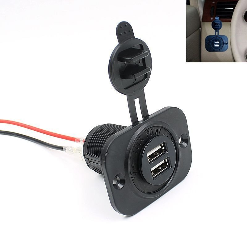 12V Boat Car Cigarette Lighter Socket 2.1A Dual USB Charger Power Outlet Black (Intl)