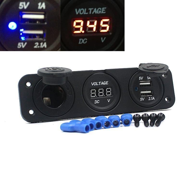 12V Car Cigarette Lighter Socket Voltmeter USB Charger For GPS Mobile Black (Intl)