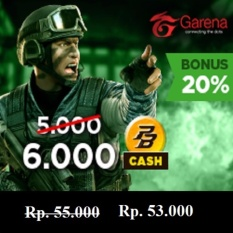 Garena PB Cash 50000 (6000 cash) - Top Up