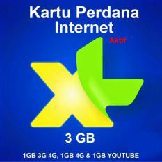 Perdana Internet XL Kuota 3 GB LITE - 1GB 3G 4G, 1GB 4G & 1GB YOUTUBE