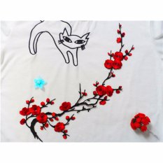 ... Hanyu Plum Blossom Flower Applique Clothing Embroidery Patch Fabric Sticker Iron On Sew On Patch Craft