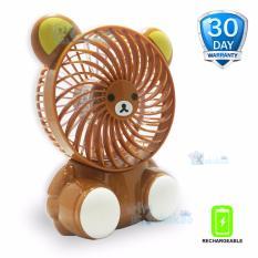 Kokakaa Kipas Angin Mini PortableSmall Fan KarakterBateraiCharge& Usb Cable Bundle - Beruang Coklat