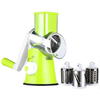 Manual Hand Speedy Mandoline Slicer With 3 Round Stainless SteelBlades For Fruit Vegetable Carrot Slicer Cutter Potato JulienneCheese Grater Kitchen Tool Green - intl