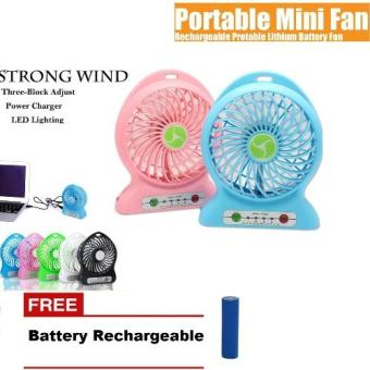 mini fan portable Rechargeable Kipas Angin Bisa Charger Free Battery Rechargeable - multi color(Multicolor