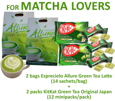 2 packs Esprecielo Allure Green Tea Latte + 2 packs KitKat Green Tea Original Japan