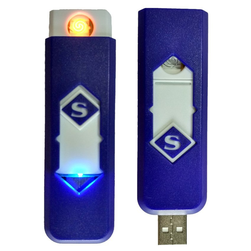 Korek Elektrik - Korek Api Lighter USB Anti Angin - Biru