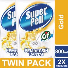 Super Pell Pembersih Lantai Gold Pouch 800 Ml Twin Pack