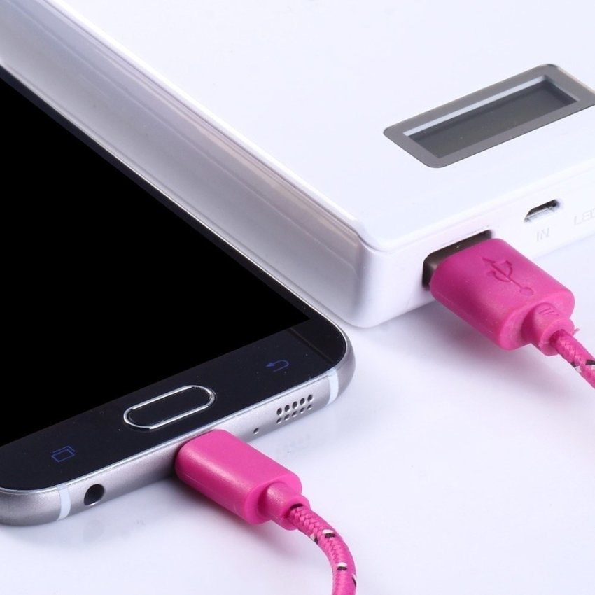 1M Colorful Round Nylon Fabric Braided Data Sync Charging Cable Micro USB to USB for Smartphones Samsung HTC Nokia Sony Blackberry etc. (Pink) (Intl)