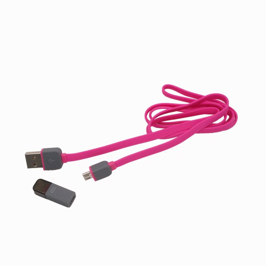 1m Square Square 2in1 Micro USB Charging and Data Transfer Cable and 8 Pin Adapter For Phone 6 6 Plus 5 5S iPad Mini HTC Samsung Sony (Pink) (Intl)