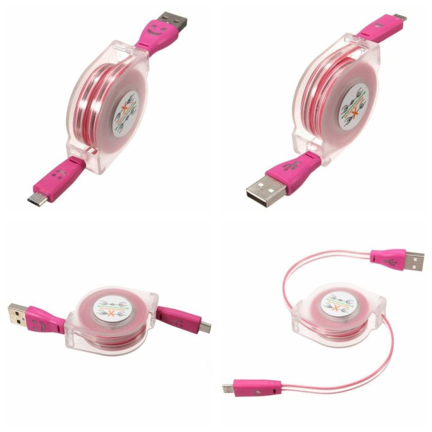 1m Visible Retractable LED Light Micro USB 2.0 Data Sync Charger Cable for Phone (Red) (Intl)