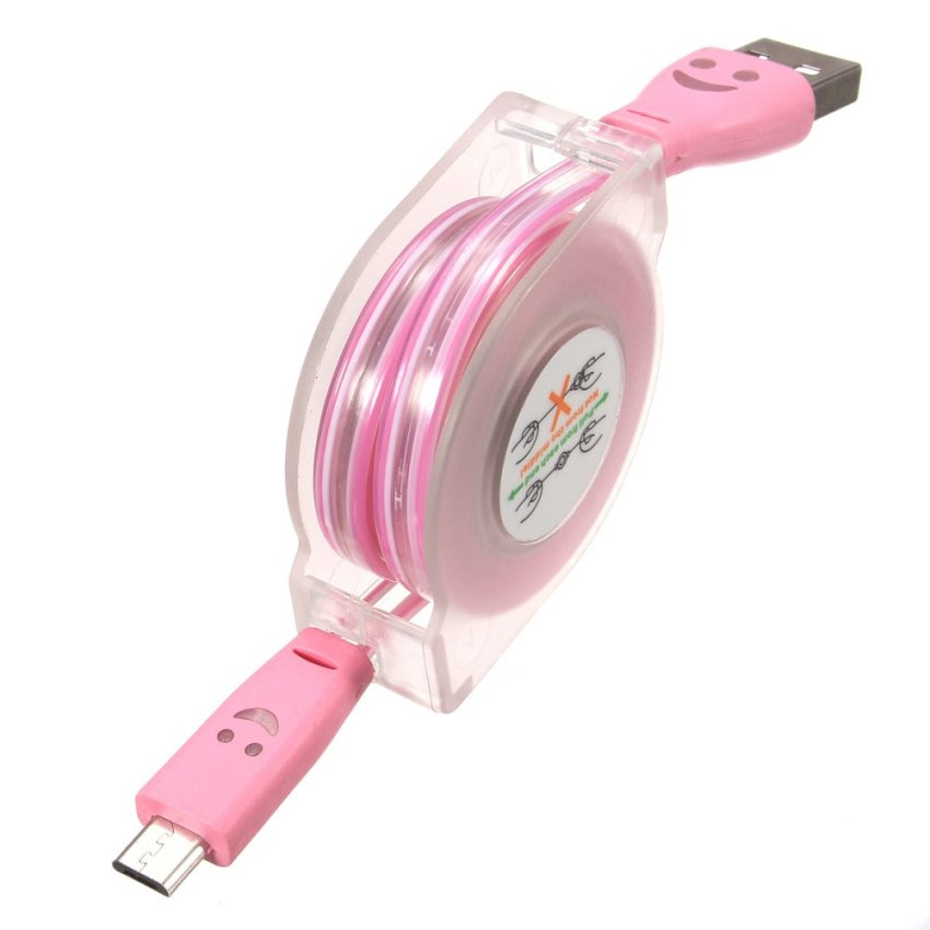 1M Visible Retractable LED Light Micro USB 2.0 Data Sync Charging Cable for Phone (Pink) (Intl)
