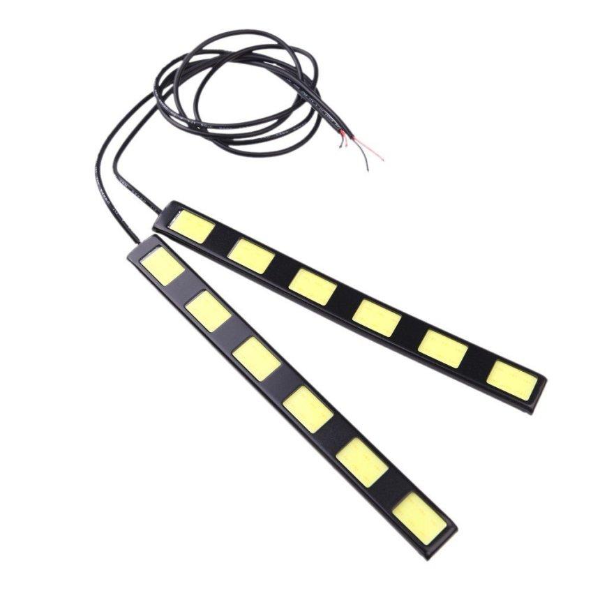 1Pair 12W COB 6-LED Car Daytime Running Light Bar DRL Driving Lamp White 12V (Intl)