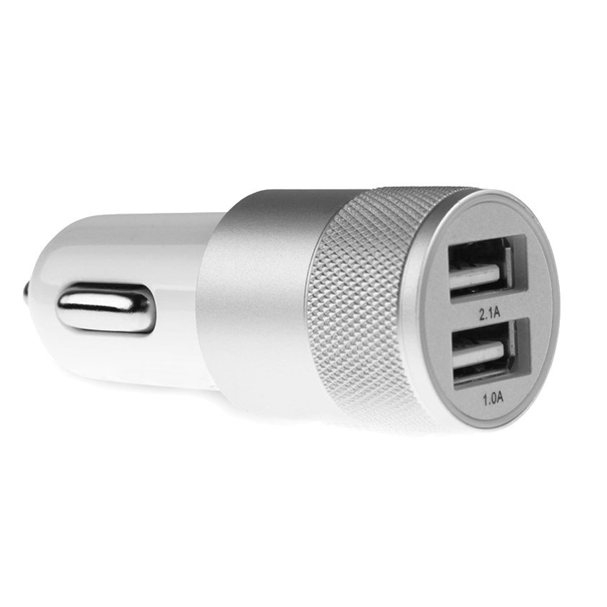 2.1A+1A Universal Car Charger with 2 USB Ports Short Charging (Silver) (Intl)