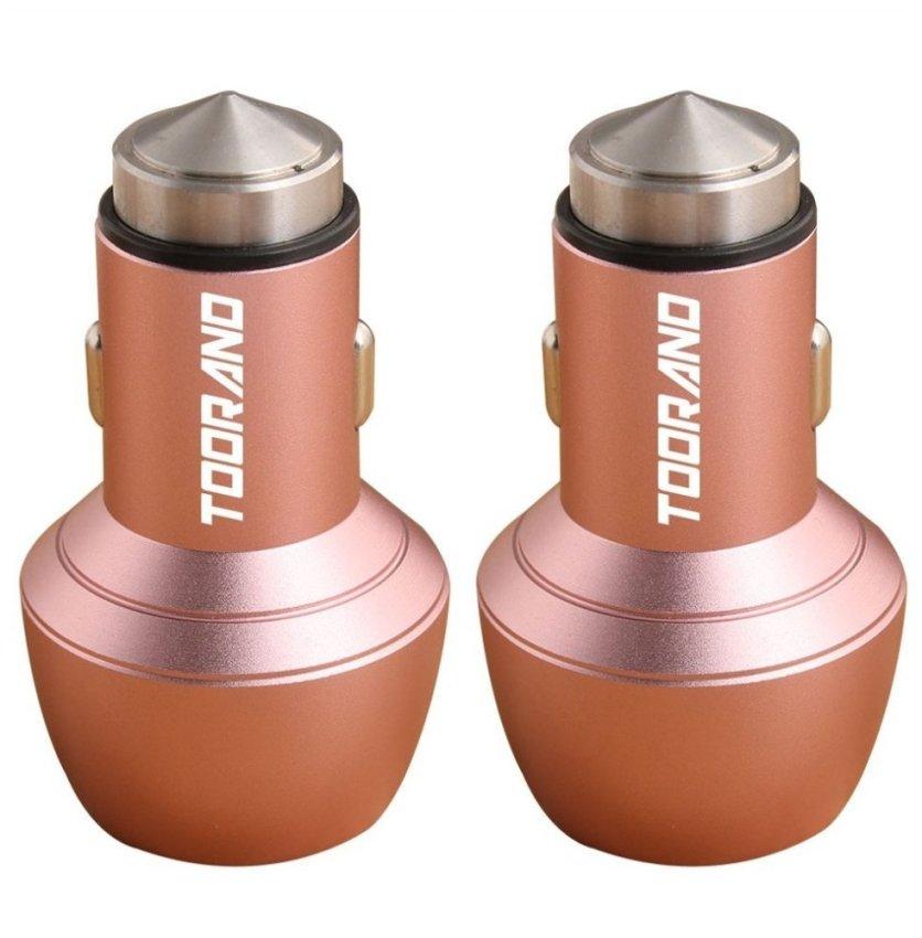 2 Pack Car Safety Hammer Aluminum Dual 12V 24V USB Multi-functional Car Charger (Pink)(INTL)