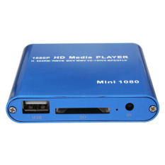 1080P Mini HDD Media Player MKV H.264 RMVB Full HD with HOST USB/SD Card Reader Blue