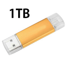1TB Flash Drive U Disk OTG Dual USB Micro USB Memory Stick For Android PC (Gold)