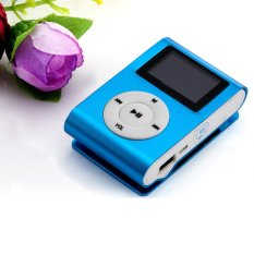 2016 Mini Clip Slim Media USB MP3 Music Player LCD Screen Display Support 16GB 32GB Micro SD TF Card Top Quality (Blue)