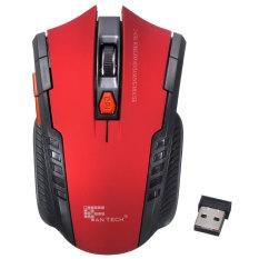 2.4 gHz mouse optik nirkabel portabel mini game untuk PC Laptop tikus Merah