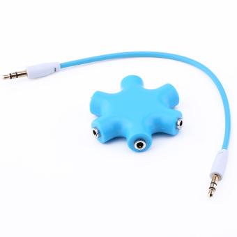 3.5mm Earphone Headphone Audio Splitter 1 Male To 5 Female Port Cables (Blue)
