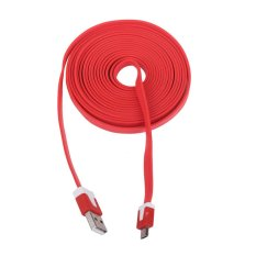 3M Long Noodle Micro USB 2.0 Sync Data Charger Cables Cords 1M For Samsung Galaxy S3 S4 HTC Android Phone(Red)