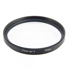 55mm + 3 Zoom Macro Close-up Digital Lens Filter Transparent & Black Border - Intl