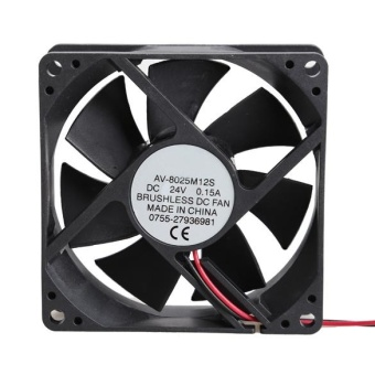 8025S 24V Brushless DC 7 Blade 2 Wires Cooling Fan 80x80x25mm -intl