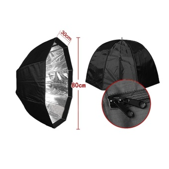 80cm / 31.5in Octagon Umbrella Softbox Brolly Reflector with Honeycomb Grid Carbon Fiber Bracket for Speedlite Flash Light - intl