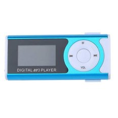 8GB Portable Shiny Mini USB Clip LCD Screen MP3 Media Player Sports MP3 (Blue)