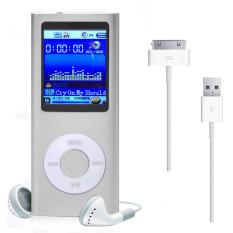 8GB1.8inch MP3 MP4 Slim Digital LCD Screen FM Radio Music E-book Video Player + USB Cable + Earphone (Silver)