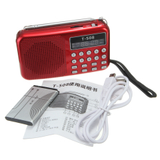 9pcs T508 Mini Portable LED Stereo FM Radio Speaker USB TF Card MP3 Music Player Red