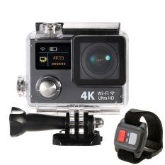 Action Camera 4K Ultra HD 1080p WiFi Waterproof - Dual Screen + Remote - Hitam