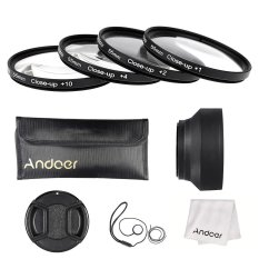 Andoer 55mm Close-up Macro Lens Filter Set (+ 1 + 2 + 4 + 10) With Lens Accessories (Lens Pouch / Collapsible Lens Hood / Lens Cap / Lens Cap Holder / Cleaning Cloth) - Intl