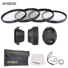 Andoer 62mm Lens Filter Kit (UV + CPL + Star8 + Close-up + 4) With Lens Cap + Lens Cap Holder + Tulip & Rubber Lens Hoods + Cleaning Cloth