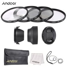 Andoer 72mm Lens Filter Kit (UV + CPL + Star + 8 + Close-up + 4) With Lens Cap + Lens Cap Holder + Tulip & Rubber Lens Hoods + Cleaning Cloth