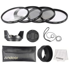 Andoer 72mm Lens Filter Kit (UV + CPL + Star + 8 + Close-up + 4) With Lens Cap + Lens Cap Holder + Tulip & Rubber Lens Hoods + Cleaning Cloth Outdoorfree