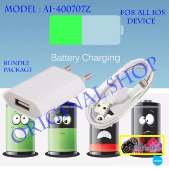 Apple Charger iPhone 5/5c/5s/6/6s/6+/6splus/7/7Plus + Kabel data 8 Pin Original A1-400707Z - Putih