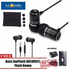 Asus Earphone ZenEar Handsfree For Aus Zenfone Jack 3.5mm + GRATIS Selfie Asus ZenFlash (Black)