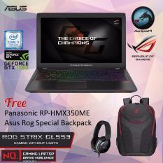 Asus ROG STRIX GL553VD-FY280D With Intel Core i7-7700HQ Nvidia GTX1050 4GB GDDR5 8GB RAM DDR4 1TB HDD + Free Panasonic Headphone + Asus Rog Special Backpack Garansi Resmi 2 Tahun